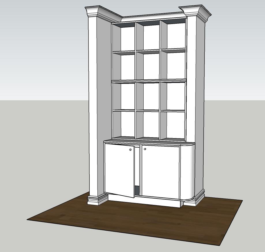 3D ritning på platsbyggt vitrinskåp.