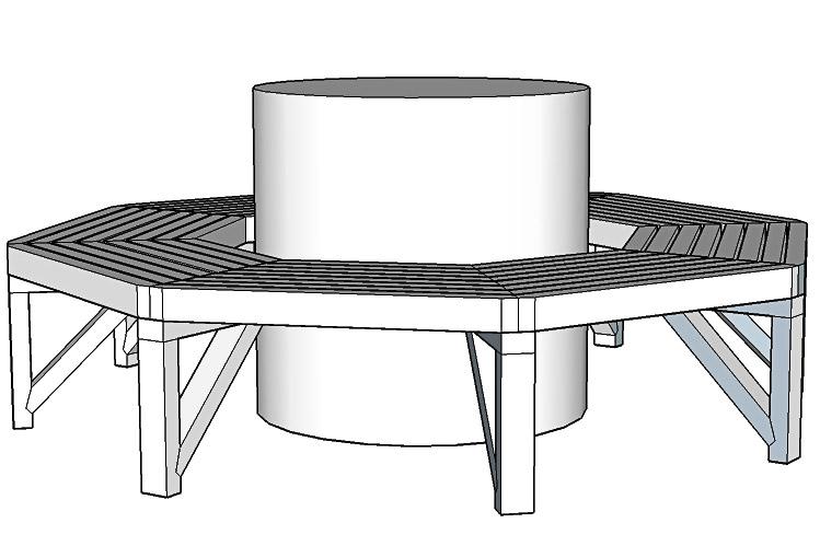 Åttakantig bänk runt träd platsbyggd platssnickrad