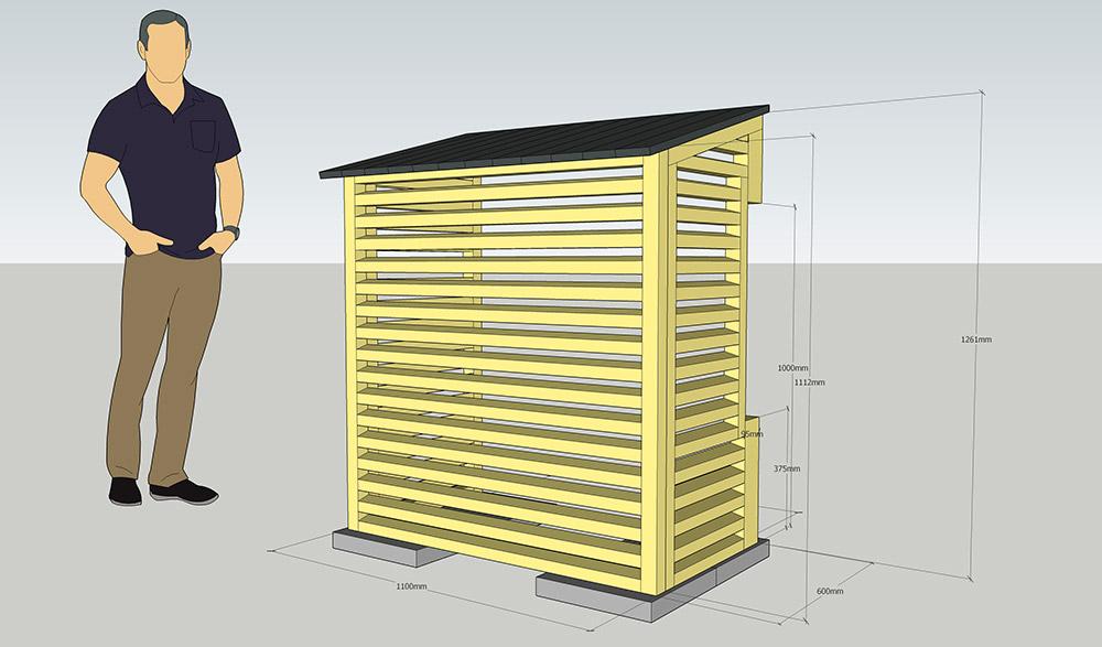 Ritning till platsbyggd platssnickrat skydd till värmepump