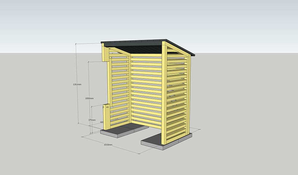 Ritning på väderskydd till platssnickrad platsbyggd luftvärmepump.